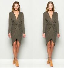 NWT Knot Long Sleeve Olive Dress Size M Anthropologie Urban Outfitters