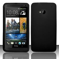 Phone Case for HTC One M7 Black Silicone Gel Skin Soft Rubber Cover Protector