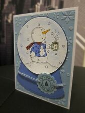 Stampin Up HAPPY HOLIDAY Snowman Snow Globe Handmade Card