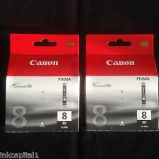 2 x Canon CLI-8BK Original OEM Inkjet Cartridges For MP600, MP600R