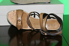 BURBERRY OVERDYED LEATHER ESPADRILLE WEDGES SADDLE BROWN #8us $479