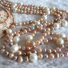 """52"""" 5-9mm White Peach Pink Lavender Freshwater Pearl Necklace Fashion Jewelry"""