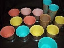Vtg. Raffia Lined Plastic Cups - Tumblers - Footed Desert Bowls, 14 Pieces