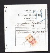 """LEVET (18) VINS en gros """"Jacques CHERTIER"""" en 1919"""