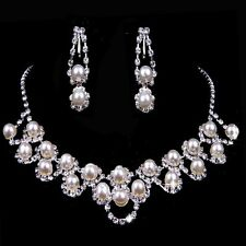 Wedding Rhinestone Crystal Pearl Necklace Earrings  Jewelry Set