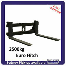EURO QUICK HITCH PALLET FORKS 2500kg QEH25E for tractor FULLY CERTIFIED