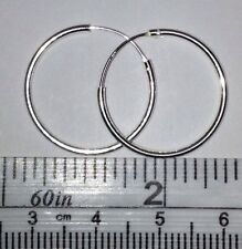 20mm Dia. x 1.2mm Sterling Silver Round Tube Hoop Earrings. Shiny Real Silver !