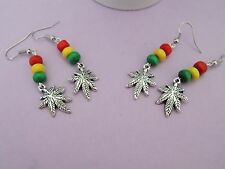 RASTAFARIAN BEAD & GANJA WEED MARIJUANA POT LEAF CHARM  hook earrings JAMAICAN