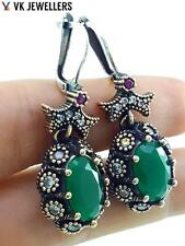 Antique Turkish Traditional Jewelry 925 Silver Handmade Emerald Earrings R3063