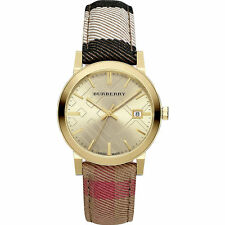 BRAND NEW BURBERRY BU9041 HOUSECHECK FABRIC STRAP GOLD STEEL CASE WOMEN'S WATCH