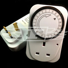 24 HOUR 24HR MAINS PLUG IN MECHANICAL TIMER SWITCH TIME CLOCK SOCKET UK PLUG