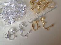 5 or 10 Pairs x Gold /  Silver Plated COPPER Earring Clips Clip on  - Findings