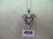 #456# .925 Sterling Silver Shaped Heart Pendant Round Amethyst Gems & Necklace