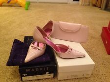 Magrit Shoes And Matching Clutch Bag In Perlised Pink Size 40