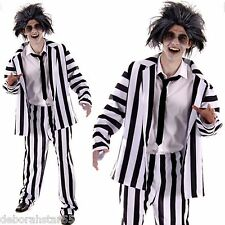 """Mens Ghost Costume Adult Crazy Funny Halloween Black Striped Suit  M/L 44"""" Chest"""
