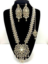 Big Long Bridal Necklace Earring Set Gold Tikka Indian Jewellery Wedding Jewelry