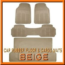 3PC Lexus LX 450 / 470 / 570 Beige Rubber Floor Mats & 1PC Cargo Trunk Liner mat