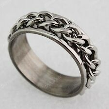 10pc Stainless steel Double Spin Chain Mens Fashion Rings Wholesale Jewelry Lots