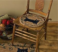 New Country Primitive BLACK CAT Wool Hooked Rug Chair Pad Seat Cushion