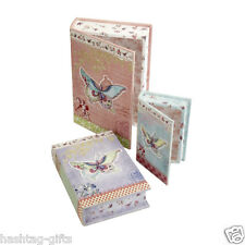 Set of 3 Vintage Book Boxes - Butterfly Secret Storage Jewellery Box Gift