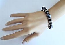 Brillantes cristales negro azabache con cuentas pulsera elástica Vidrio Veneciano