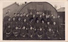 WW2 Group Officers NCOs and men Training Squad ? in front of Nissen Huts