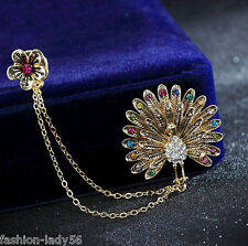 Charm Rhinestone Crystal Peacock Gold Tone Brooch Pin Bridal Wedding Party