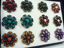 12 Box Set ring wholesale jewelry lot vintage style fashion Crystal Rhinestone b