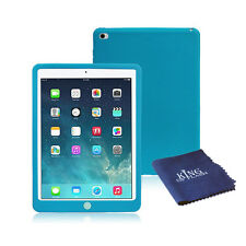 Silicone Rubber Shockproof Cover Case For iPad Air 2 + Microfiber Cloth Blue