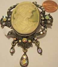 Pin Brooch Cameo Iridescent Rhinestone Round Cream Vintage Reproduction NWT L720