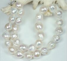 """HUGE NATURAL 11-12MM Australian south seas kasumi white pearl necklace 18"""" 14K"""