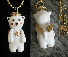 N81 Betsey Johnson Cute Standing Angel Bear with Wings Necklace US