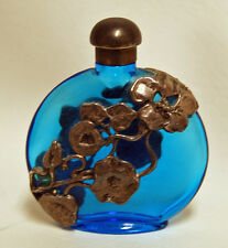 Vintage FIRST IMPRESSIONS Blue Glass Perfume Bottle Silver Overlay Art Nouveau