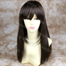 Beautyful Silky Long Straight Lady Wig Dark Coffee Brown from WIWIGS UK