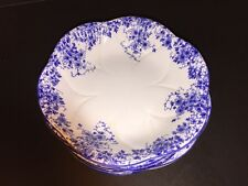 Set of 6 Nice Shelley England Dainty Blue Flower Bone China Soup or Cereal Bowls