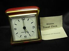 "Vintage Westclox Red Travel Alarm Clock, 3"" Square, Taiwan"