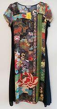 NWT CITRON SANTA MONICA Floral Silk Rayon Shortsleeve Side Sheer Long Dress, S