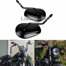 BLACK TAPERED TEARDROP REARVIEW SHORT STEM MIRRORS FOR HARLEY MOTORCYCLE CRUISER