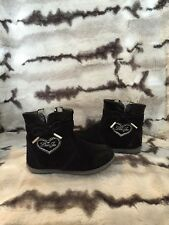 Liu Jo Girl Toddler Patent Black Suede Leather Boot Made In Italy 5.5 US 21EU