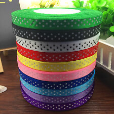 New 500 Yards Charm 3/8 10mm Polka Dot Ribbon Satin Craft Supplies MixColor #3
