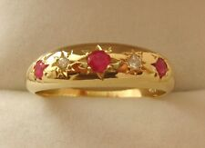 GENUINE SOLID 9ct 9K YELLOW Gold  NATURAL RUBY & DIAMOND GYPSY  RING