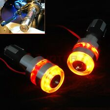 12V 7/8'' Motorcycle Handle Bar End LED Turn Signal Light Silver For Honda X2 7M