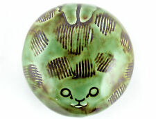 An unusual studio pottery Cat paperweight. Scandinavian? Green.