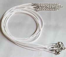 "1mm White Waxed Leather Rope Choker Necklace Chain for Pendant 18"" Cord UK LT"