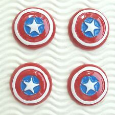 "US SELLER - 10 pc x 1.25"" Caption America Shield Patriotic Resin Flatbacks SB623"