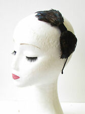 Navy Blue Black Lady Amherst Pheasant Feather Headband Fascinator 1940s Vtg 1281