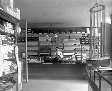 Early1900s Walter F. Marble glass negative. A storekeeper in a General Store