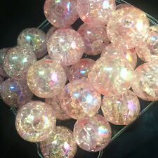 10pcs pink Crackle Glass Round 12mm Beads Jewelry Findings Craft Bead Supply~