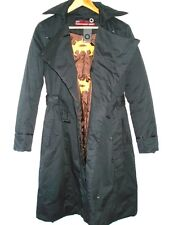 GSUS 3/4 LENGTH TRENCH COAT JACKET BLACK FRONT FLAP D-RING BELTED SMALL