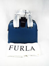NWT $448 Beautiful! Furla Michelle Domed Leather Satchel Bag Blue Indaco